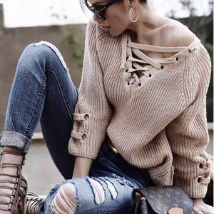 "Sweaters - 🔴""Kyla"" Lace Up V Neck chunky Sweater"